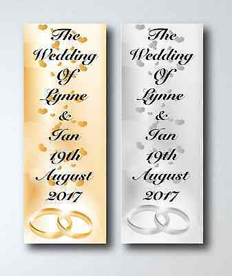 Personalised Wedding Day Large Paper Vertical Door Banner With Hearts & Rings • 4£