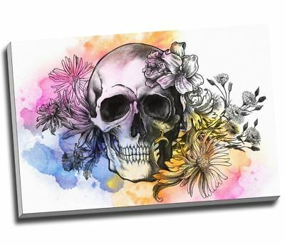 Water Colour Graffiti Skull Candy Canvas Print Wall Art 30x20  A1 • 29.99£