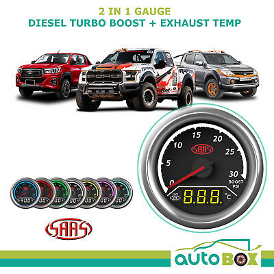 AU128.89 • Buy SAAS 2in1 Diesel Turbo Boost And Exhaust Temp Gauge 52mm EGT Pyro Set Warning