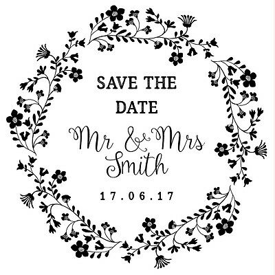 AU20.22 • Buy Personalised Laser Rubber Stamp - Save The Date: Flower Wreath