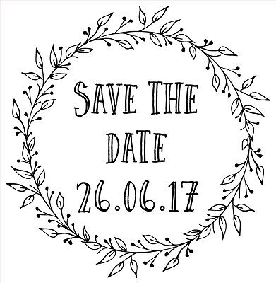 AU20.22 • Buy Personalised Laser Rubber Stamp - Save The Date: Ornate Leaves