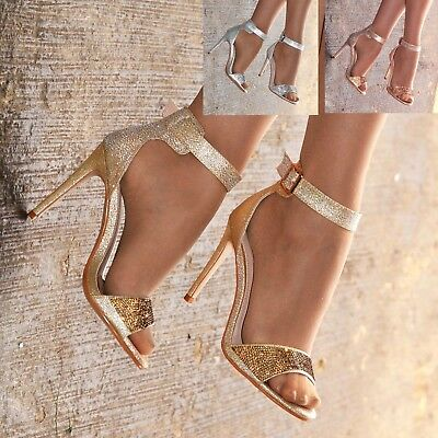 £17.95 • Buy Ladies Diamante High Heel Sandals Shoes Ankle Strap Barely There Party Size 3-8