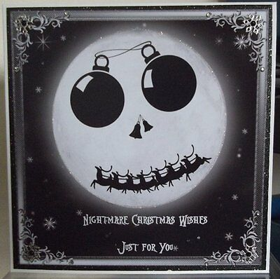 Handmade Personalised Gothic Card With A Nightmare Before Christmas Moon Design • 4.90£