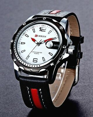 AU27.99 • Buy Men`s 30m Waterproof Genuine Leather Calendar Stylish Classic Quartz Watches
