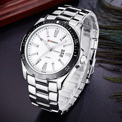 AU30.99 • Buy Men's 30m Waterproof Calendar Stylish Stainless Steel Sport Quartz Watches