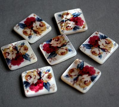 Shell Printed Square Beads 18 X18 Mm - Pack Of 6 • 2.55£