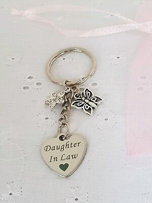 Daughter In Law Heart Keyring With Butterfly And Organza Gift Bag • 3.85£