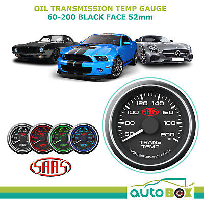 AU78.85 • Buy SAAS Transmission Oil Temperature Temp 60-200 Performance Gauge Black Face 52mm