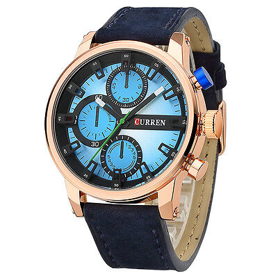AU27.99 • Buy Men`s 30m Waterproof Genuine Leather 3 Decoration Dials Casual Quartz Watches