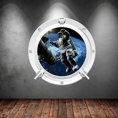 Full Colour Space Porthole Planet Astronaut Spaceship Wall Sticker WSD1221 • 22.98£