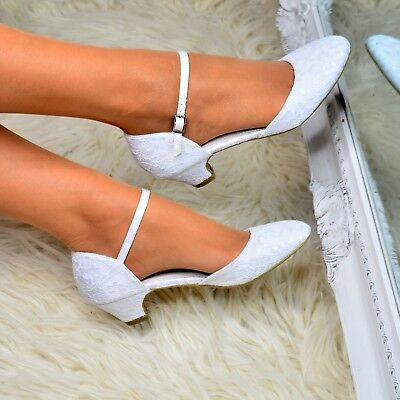 Ladies Low Heel Wedding Shoes Bridal Lace Mary Jane Ankle Strap Court Shoes Size • 21.95£