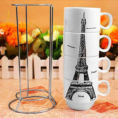 AU29.59 • Buy Coffee Cups Set 4 Cup In Gift Box 4 Oz Each With Metal Rack