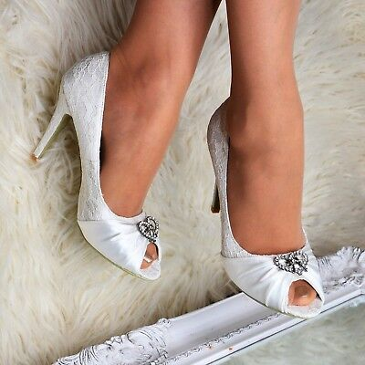 Ladies Ivory Wedding Peep Toe Heels French Lace High Heel Satin Shoes Pumps Size • 14.50£