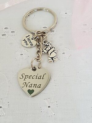 Special Nana Heart Keyring With Teddy I Love You Charms And Organza Gift Bag • 3.85£