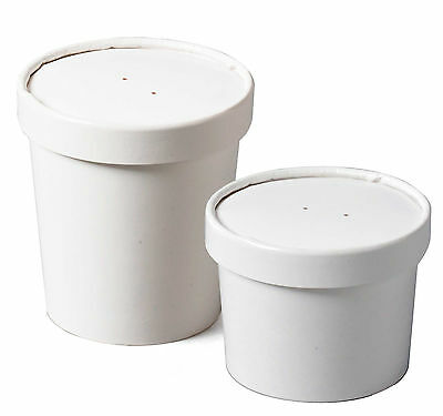 100 X White Paper Ice Cream Tubs / Heavy Duty / Lids Available In 12oz 16oz 26oz • 22.99£