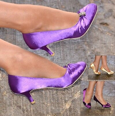 £12.99 • Buy Ladies Satin Evening Shoes Womens Low Kitten Heel Closed Toe Courts Size 3-8