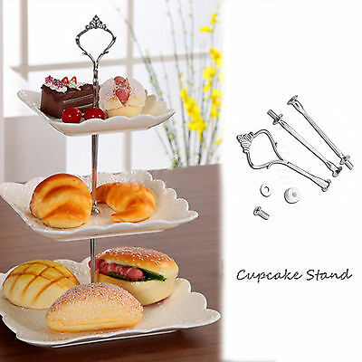 £3.03 • Buy New 3 Tier Cake Plate Stand Cupcake Fittings Silver Wedding Party Display Silver