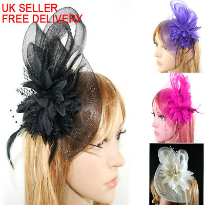 Beaded Feather Hair Fascinator Bunny Hair Clip Headband Mess Wedding Royal Races • 5.94£