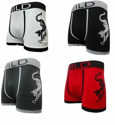 3 Pairs Men's Seamless Shorts Trunks Designer Boxer Comfy Wilds  Funky  Brief   • 5.49£
