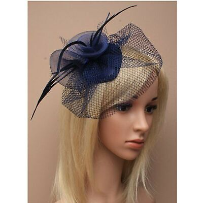 Navy Blue Fascinator With Netting And Feather Tendrils And Beak Clip Fastener. • 6.20£