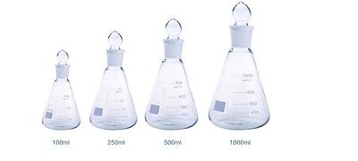 Borosilicate Conical Flask + Grounded Glass Stopper Sets Boro 3.3 Lab Glassware • 13.49£