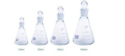 £24.99 • Buy Borosilicate Conical Flask + Grounded Glass Stopper Sets Boro 3.3 Lab Glassware