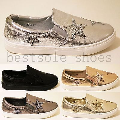 Womens Ladies Metalic Star Glliter Loafers Flats Trainers Plimsolls Pumps Shoes • 9.99£