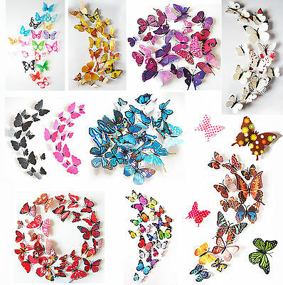 AU2.25 • Buy 24PCS 3D Butterfly Wall Decals Removable Sticker Kids Art Nursery Decor Magnets