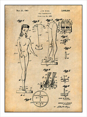 1961 Barbie Doll Toy Patent Print Art Drawing Poster • 20.61£