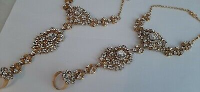 Indian Diamante Hand Bracelet Chain Panja Ring Jewellery Gold  Red Tone  • 9.98£