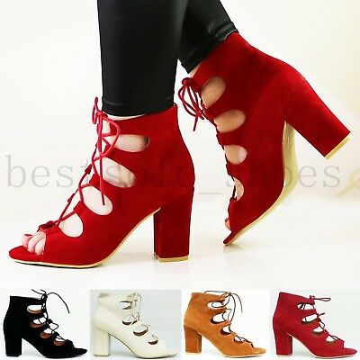 £13.99 • Buy Womens Ladies Ankle Strap Caged Lace Up Sandals Mid High Block Heels Shoes Size