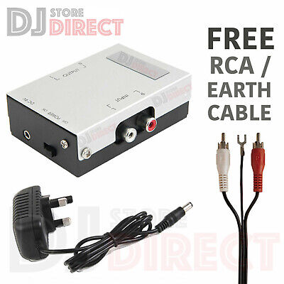 Turntable Pre-Amp MM Phono Pre Amplifier Stereo Aux Line Level + RCA EARTH LEAD • 16.49£