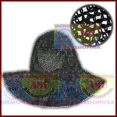 Black Medieval Chainmail Coif Flat Riveted W/ Flat Washer 9mm 18G Steel Hood • 34.99£