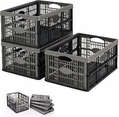 £6.08 • Buy 32l Plastic Folding Storage Container Basket Crate Box Stack Easy Fold Able Flat