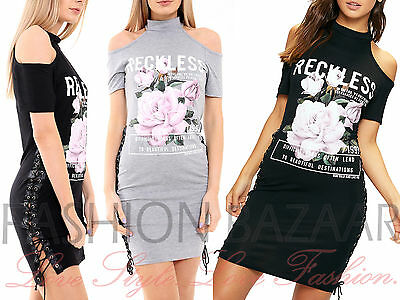 Womans Cold Shoulder Reckless Floral T Shirt Mini Dress Side Eyelet Lace Up Top • 18.90£