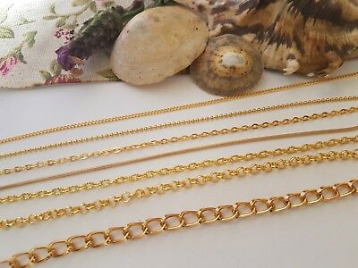 Gold Coloured Metal Jewellery Chain,all Styles, Necklace Bracelet Craft Making • 3.99£