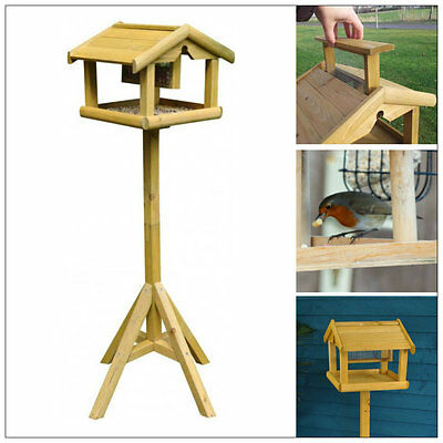 £24.99 • Buy Deluxe Wooden Bird Table With Built In Feeder Free Standing Bird Feeding Station