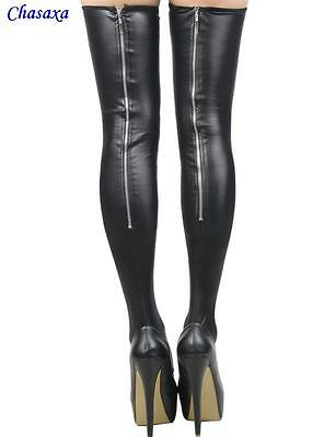 Chasaxa Sexy Ladies Girls Black Leather Look Stockings • 10.99£