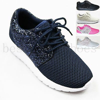Ladies Women Glitter Flat Lace Up Plimsolls Gym Pump Running Trainers Shoes Size • 11.99£