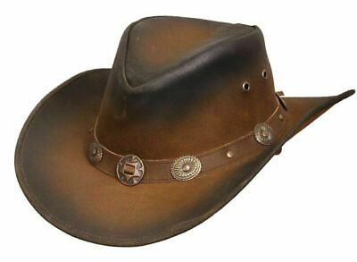 £19.97 • Buy Leather Cowboy Western Australian Style Bush Hat With Conchos Leather Band