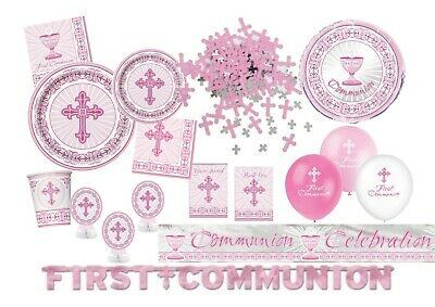 Girls 1st First Holy Communion Party Tableware Decorations Supplies Pink + White • 1.99£