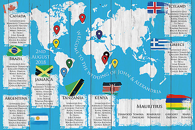 £42.99 • Buy Personalised Travel Bold World Map Wedding Table / Seating Plan Large A1 A2 A3