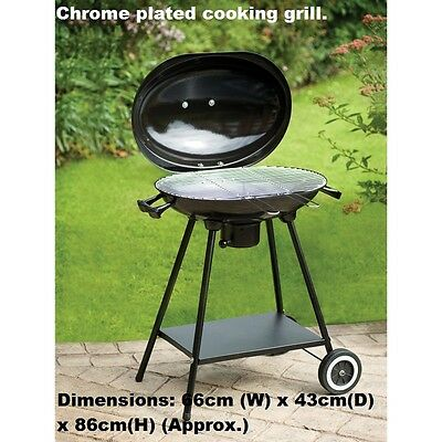 New Chrome Plated Cooking Grill Oval Kettle BBQ - Black • 49.98£