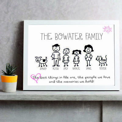 FAMILY NAME | Personalised Picture | Stick People Figures | FREE POST | (NP172) • 4.99£