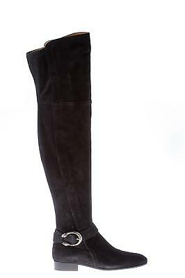 GUCCI Women Shoes Black Suede Dyonisus Thigh High Boots Silver Tiger Head Buckle • 567£