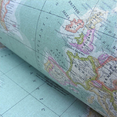 WORLD MAP 2 Globe Atlas Furnishing Fabric Cotton Material 280cm Wide SKY BLUE • 18.99£