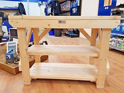 £185 • Buy Acorn Work Bench Wooden Handmade Industrial Heavy Duty Table - Suitable For Vice