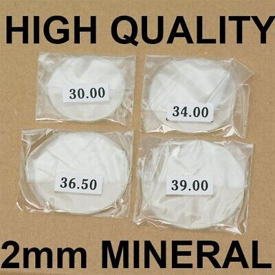 £5.50 • Buy 2mm Thick MINERAL Crystal Glass Glasses Flat 30mm-40mm Large Watch Crystals NEW