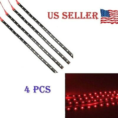 $6.65 • Buy Red 4PCS 12V 12  15SMD Flexible LED Strip Light Waterproof For Car Truck Boat