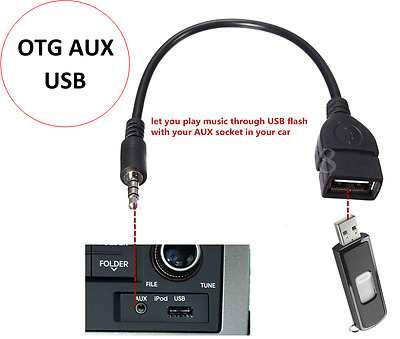 3.5mm Male AUX Audio Plug To USB 2.0 A Female Jack OTG Convertr Lead Adapter BLK • 1.95£